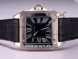 Cartier Santos 100 Automatic Movement Silver Case with Black Dial and Roman Markers-Black Leather Strap