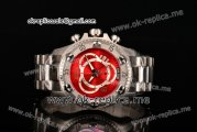 Invicta Orignial Excursion Chrono Swiss Ronda 5040 D Quartz Full Steel with Red Dial and Arabic Numeral Markers