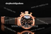 U-Boat Classico Italo Fontana Chrono Miyota Quartz Rose Gold Case with Black Dial Rose Gold Markers and Black Rubber Strap