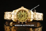 Rolex Datejust Oyster Perpetual Swiss ETA 2836 Automatic Movement Full Gold with Diamond Bezel and Beige MOP Dial