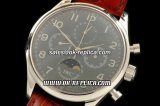 IWC Portuguese Moon phase Chronograph Lemania Manual Working Chronograph Movement Silver Case with Black Dial and Brown Leather Strap