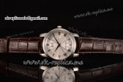 Mido Dorada Miyota Quartz Steel Case with Silver Dial Roman Markers and Brown Leather Strap