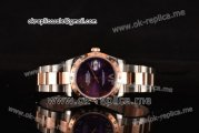 Rolex Datejust Asia 2813 Automatic Two Tone Case with Purple Dial Diamonds Bezel and Two Tone Strap (BP)