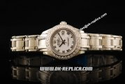 Rolex Datejust Oyster Perpetual Swiss ETA 2671 Automatic Movement Full Steel With Diamond Bezel and White Dial - Lady Model