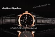 Mido Commander Miyota Quartz Steel Case with Black Dial Rose Gold Bezel and Black Leather Strap