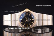 Omega Constellation Asia 2813 Automatic Two Tone with Black Dial and Yellow Gold Markers - Diamond Bezel