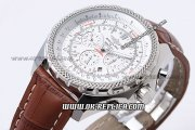 Breitling Bentley Automatic Movement White Dial with Honeycomb Bezel and Brown Leather Strap