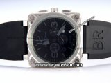 Bell&Ross BR01-94 Quartz Movement Silver Case with Black Rubber Strap and Black Markers-Black Dial