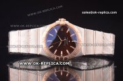 Omega Constellation Asia 2813 Automatic Two Tone with Brown Dial and Stick Markers - Rose Gold Bezel