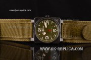 Bell & Ross BR03-92 Military Type Asia 2813 Automatic PVD Case with Army Green Dial and Nylon Strap - ETA Coating