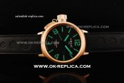 U-Boat IFO Left Hook Automatic Movement Rose Gold Case with Black Dial and Green Markers