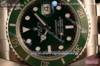 Rolex Submariner Swiss ETA 2836 Automatic 904 Steel Case with Green Dial Steel Bracelet and Dots Markers - 1:1 Origianl (JF)