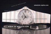 Omega Constellation Asia 2813 Automatic Full Steel with Silver Dial and Diamond Markers