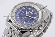 Breitling Bentley Automatic Movement Blue Dial with Honeycomb Bezel and Stick Marker-SS Strap