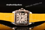 Cartier Santos 100 Large Asia Automatic Steel Case with White Dial Roman Numeral Markers and Yellow Leather Strap