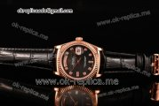 Rolex Day-Date Asia 2813 Automatic Rose Gold Case with Black MOP Dial Diamonds Markers and Black Leather Strap (BP)
