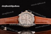 Breitling Bentley Barnato Chrono Miyota OS20 Quartz Steel Case Stick/Numeral Markers White Dial and Leather Strap