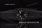 Bell&Ross BR03-92 Asia 4813 Automatic PVD Case with Black Dial Black Rubber Strap - ETA Coating