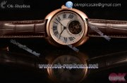 Cartier Cle de Cartier Swiss Tourbillon Manual Winding Rose Gold Case with White Dial Roman Numeral Markers and Brown Leather Strap