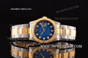 Rolex Datejust Automatic Movement Blue Dial with Gold Bezel and Diamond Markers-Two Tone Strap