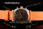 Panerai Radiomir 1940 Chronograph Bianco PAM 521 Asia Automatic Steel Case with Black Dial Roman/Arabic Numeral Markers and Orange Leather Strap