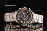 Omega Speedmaster Automatic Silver case with Blakc Bezel Black Dial and Silver Band