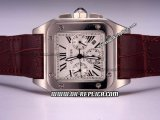 Cartier Santos 100 Automatic Movement Silver Case with White Dial-Three Subdials and Roman Markers-Brown Leather Strap