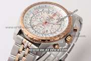 Breitling Bentley Automatic Movement with Rose Gold Case and White Dial-Two Tone Strap