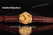 Maurice Lacroix Les Classiques Date Automatique Swiss ETA 2824 Automatic Yellow Gold Case with Yellow Dial Stick Markers and Brown Leather Strap