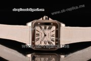 Cartier Santos 100 Large Asia Automatic Steel Case with White Dial Roman Numeral Markers and White Leather Strap