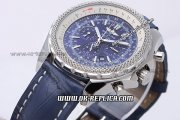 Breitling Bentley Automatic Movement Blue Dial with Honeycomb Bezel and Blue Leather Strap