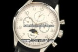 IWC Portuguese Moon phase Chronograph Lemania Manual Working Chronograph Movement Silver Case with White Dial and Black Leather Strap