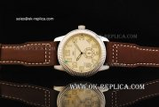 IWC Pilot's Manual Winding Movement Steel Case with Beige Dial and Brown Leather Strap-Yellow Numeral Markers