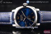 Panerai Radiomir 1940 10 Days GMT Automatic PAM00689 Asia ST25 Automatic Steel Case with Blue Dial Stick/Arabic Numeral Markers and Blue Leather Strap