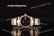 Rolex Datejust Swiss ETA 2836 Automatic Steel/Gold Case with Purple Dial Diamonds Bezel and Two Tone Strap (BP)