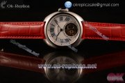 Cartier Cle de Cartier Swiss Tourbillon Manual Winding Steel Case with White Dial Roman Numeral Markers and Red Leather Strap