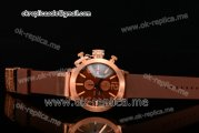 U-Boat Classico Italo Fontana Chrono Miyota Quartz Rose Gold Case with Brown Dial Stick/Numeral Markers and Brown Rubber Strap
