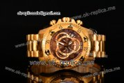Invicta Orignial Excursion Chrono Swiss Ronda 5040 D Quartz Full Yellow Gold with Brown Dial and Arabic Numeral Markers