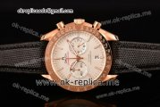 Omega Speedmaster Moonwatch Co-Axial Chronograph Miyota Quartz Rose Gold Case with White Dial Black Leather Strap and Stick Markers