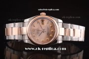 Rolex Datejust Automatic Movement ETA Case with Rose Gold Dial and Bezel-Diamond Marker