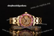 Rolex Datejust Pearlmaster Asia 2813 Automatic Yellow Gold Case with Diamonds Dial and Pink Sapphire Bezel (BP)