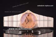 Omega Constellation Asia 2813 Automatic Two Tone with Salmon Dial and Diamond Markers - Rose Gold Bezel