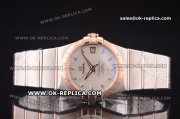 Omega Constellation Asia 2813 Automatic Two Tone with Silver Dial and Diamond Markers - Rose Gold Bezel