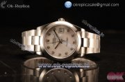 Rolex Datejust Oyster Perpetual Swiss ETA 2836 Automatic Steel Case With White Dial Diamonds Markers and Steel Bracelet (BP)