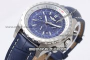 Breitling Bentley Automatic Movement with Blue Dial and Blue Leather Strap-Silver Stick Marker