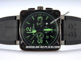 Bell&Ross BR01-94 Quartz Movement PVD Case with Black Rubber Strap and Green Markers-Black Dial