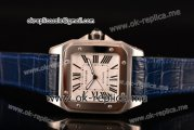 Cartier Santos 100 Large Asia Automatic Steel Case with White Dial Roman Numeral Markers and Blue Leather Strap