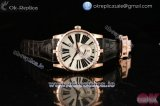 Roger Dubuis Excalibur 36 Miyota 9015 Automatic Rose Gold Case with White Dial Roman Numeral Markers and Black Leather Strap -1:1