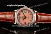 Rolex Day-Date Asia 2813 Automatic Steel Case with Pink Dial Diamonds Markers Diamonds Bezel and Brown Leather Strap (BP)