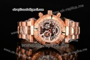 Invicta Orignial Excursion Chrono Swiss Ronda 5040 D Quartz Full Rose Gold with Skeleton Dial and White Dot Markers